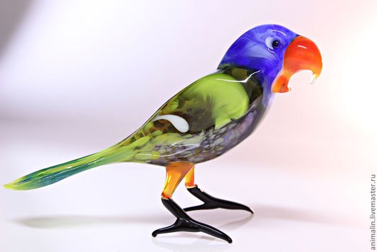 Статуэтки ручной работы. Ярмарка Мастеров - ручная работа. Купить Стеклянная фигурка попугая Ара. Handmade. Ара, стекло
