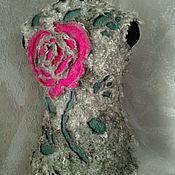 """Одежда ручной работы. Ярмарка Мастеров - ручная работа Валяный жилет из флиса """"Чайная роза"""". Handmade."""