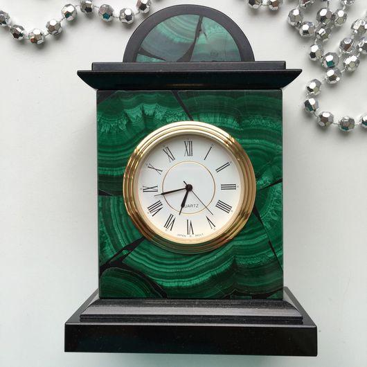 Часы для дома ручной работы. Ярмарка Мастеров - ручная работа. Купить Настольные часы из натурального Малахита. Handmade. Малахит, для мужчин