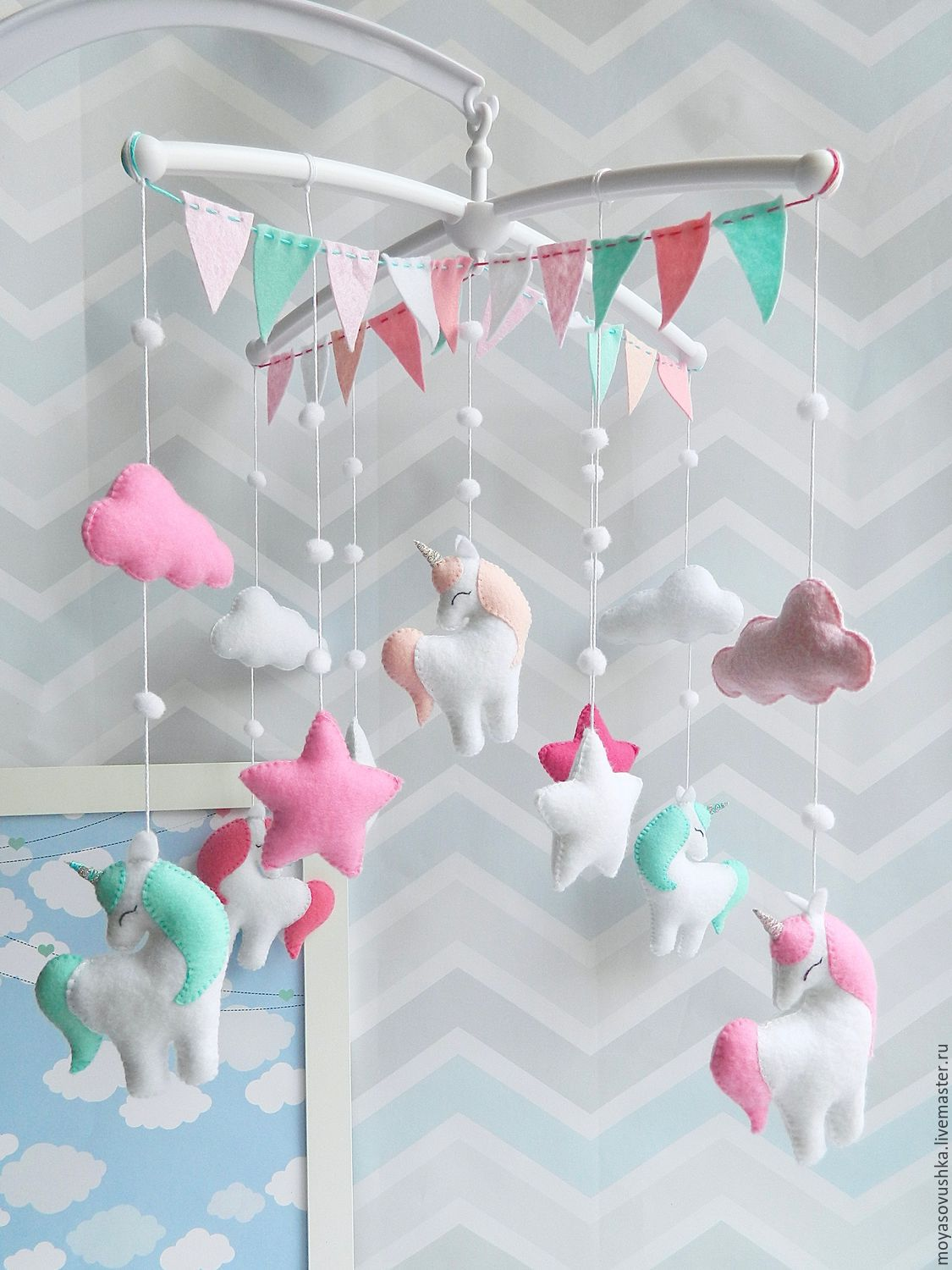 Mobile in a crib made of felt - Pink land of unicorns), Toys for cribs, Moscow,  Фото №1