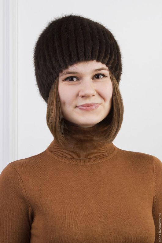 Шапки ручной работы. Ярмарка Мастеров - ручная работа. Купить Женская шапка-сноп из норки. Handmade. Коричневый, меховая шапка