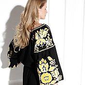 Одежда handmade. Livemaster - original item Black dress made of linen with yellow embroidery. Handmade.