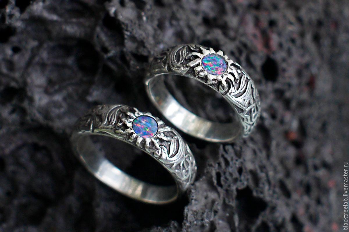 серебряные кольца с опалом