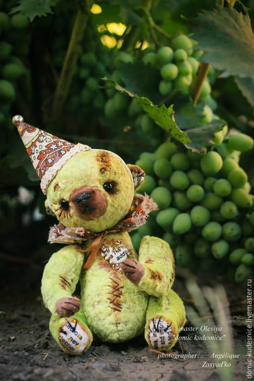Мишки Тедди ручной работы. Ярмарка Мастеров - ручная работа. Купить Мишка Тедди Виноградинка. Handmade. Зеленый, винтажные игрушки