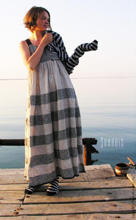 Платья ручной работы. Ярмарка Мастеров - ручная работа. Купить Платье-сарафан из натурального льна «Полосатое». Handmade. Серый