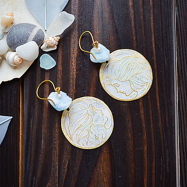 Decorations handmade. Livemaster - original item Round boho earrings with aquamarine and pearl Brass earrings with face. Handmade.
