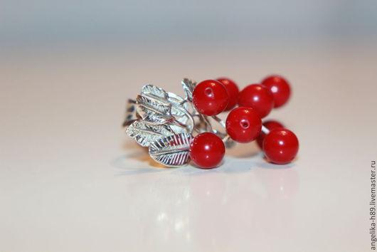 Кольца ручной работы. Ярмарка Мастеров - ручная работа. Купить Кольцо Рябинка. Handmade. Ярко-красный, кольцо из серебра