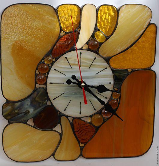 """Часы для дома ручной работы. Ярмарка Мастеров - ручная работа. Купить Витражные часы""""Морские камешки"""". Handmade. Оранжевый"""