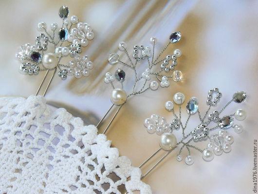 Свадебные украшения ручной работы. Ярмарка Мастеров - ручная работа. Купить Свадебные шпильки, украшение для свадебной прически. Handmade. Серебряный