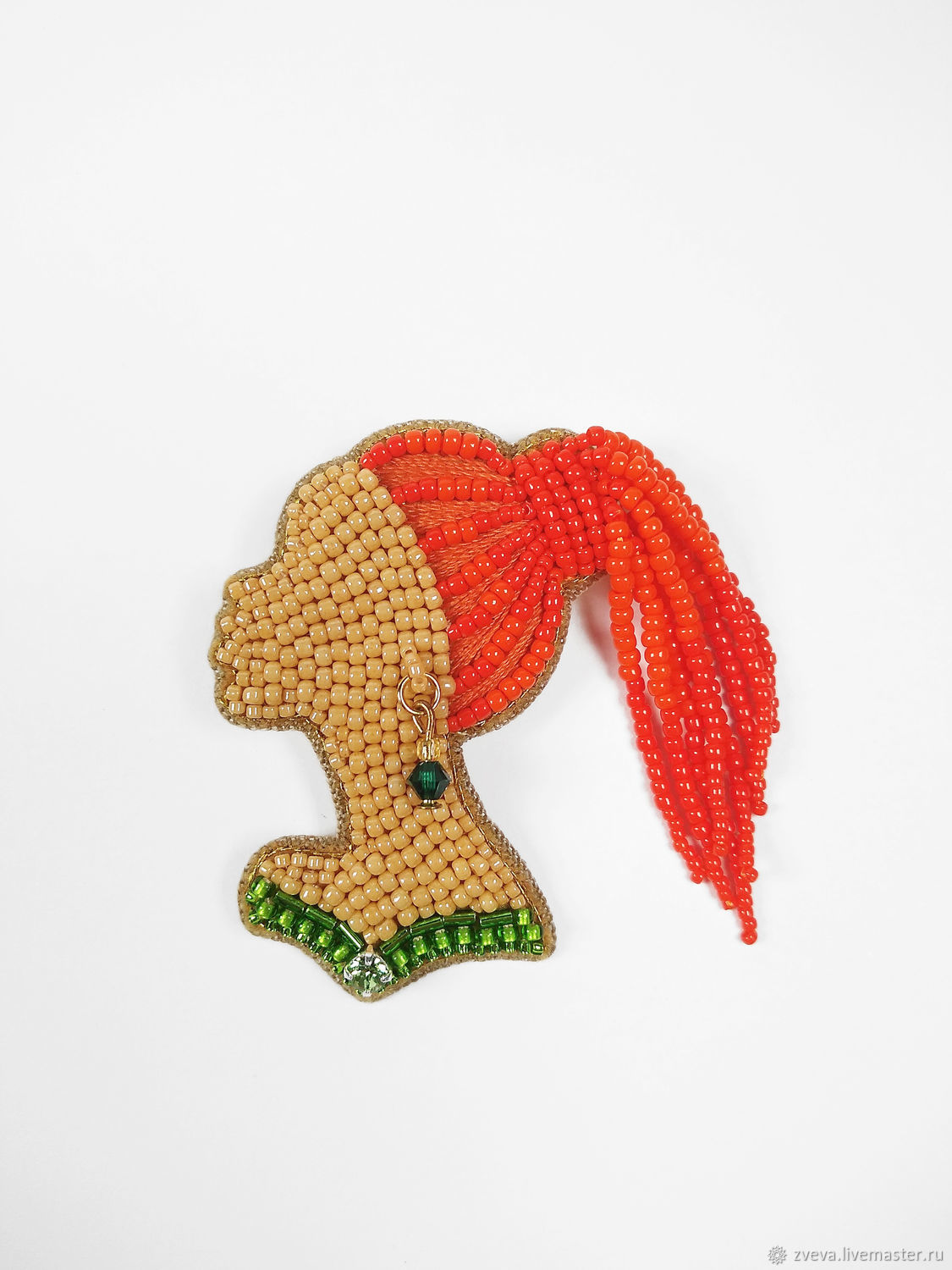Beaded brooch red-haired Girl with braids in green, girl with dreadlocks, Brooches, Smolensk,  Фото №1