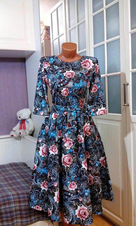 Хлопковое платье миди Пейсли и розы, Платья, Москва,  Фото №1