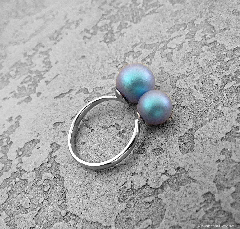 Silver ring with Swarovski pearls, Rings, Kiev,  Фото №1