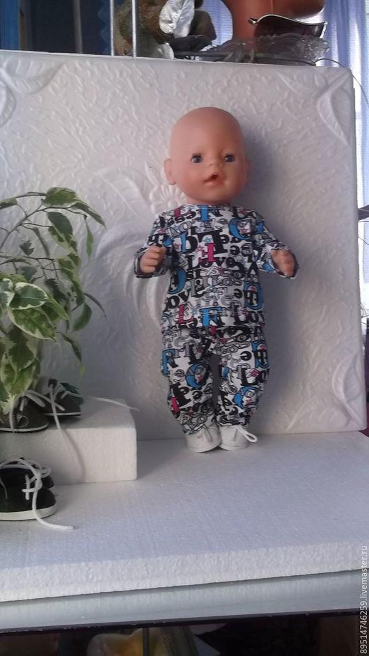Одежда для кукол ручной работы. Ярмарка Мастеров - ручная работа. Купить Пижамка для куклы Беби Борн - мальчика с буквами. Handmade.