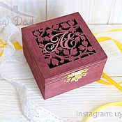 Свадебный салон handmade. Livemaster - original item Jewelry box for rings with initials. Handmade.
