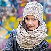 Аксессуары ручной работы. Ярмарка Мастеров - ручная работа «Золотые листья» шапка и длинный шарф. Handmade.