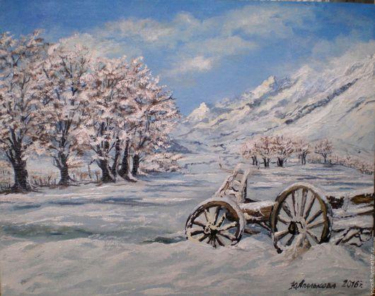 Пейзаж ручной работы. Ярмарка Мастеров - ручная работа. Купить Зимний пейзаж. Handmade. Голубой, телега, Снег, горы