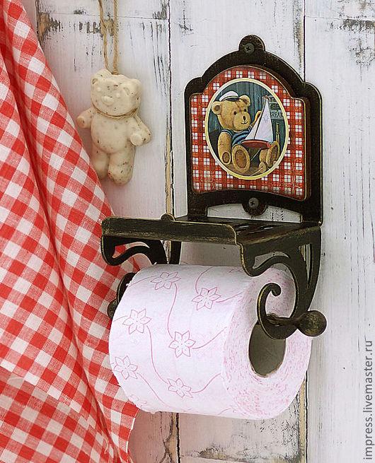 Ванная комната ручной работы. Ярмарка Мастеров - ручная работа. Купить держатель для туалетной бумаги с полочкой Тедди. Handmade. туалет