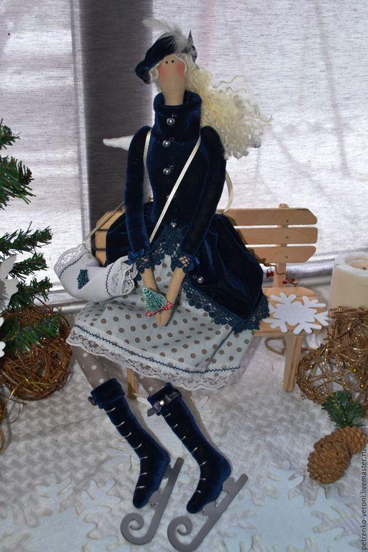Куклы Тильды ручной работы. Ярмарка Мастеров - ручная работа. Купить Девочка на коньках. Handmade. Тёмно-синий, крылышки, бархат