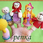 """Куклы и игрушки ручной работы. Ярмарка Мастеров - ручная работа Пальчиковый театр """"репка"""". Handmade."""