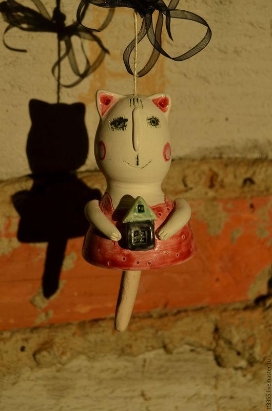 Элементы интерьера ручной работы. Ярмарка Мастеров - ручная работа. Купить керамический колольчик кот кошка. Handmade. Кошки, киса
