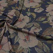 Ткани ручной работы. Ярмарка Мастеров - ручная работа Новинка!  Ткань трикотаж  жаккард т. синий цветы. Handmade.