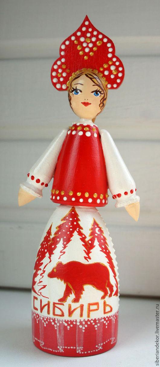 """Сувениры ручной работы. Ярмарка Мастеров - ручная работа. Купить Деревянные куколки"""" Сибирь"""". Handmade. Ярко-красный, подарок, роспись"""