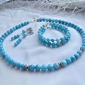 Украшения handmade. Livemaster - original item Necklace, bracelet, earrings made of aquamarine and 925 silver.. Handmade.