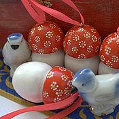 """Подарки к праздникам ручной работы. Ярмарка Мастеров - ручная работа Набор елочных игрушек """"Грибочки"""". Handmade."""
