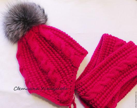 """Шапки и шарфы ручной работы. Ярмарка Мастеров - ручная работа. Купить Комплект вязаный """"Яркая зима"""" шапка шарф. Handmade."""