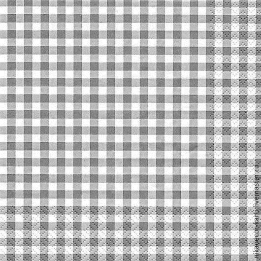 Декупаж и роспись ручной работы. Ярмарка Мастеров - ручная работа. Купить Клетка серая (211213) - салфетка для декупажа. Handmade. Разноцветный