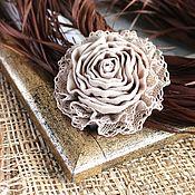 Brooches handmade. Livemaster - original item Textile brooch Beige rose. Handmade.