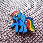 Украшения ручной работы. Ярмарка Мастеров - ручная работа Радуга Дэш (My Little Pony)- брошь/магнит/кольцо/брелок. Handmade.