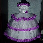 Работы для детей, ручной работы. Ярмарка Мастеров - ручная работа Платье с фиолетовыми  лентами. Handmade.