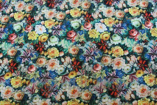 Жостовская роспись. Принт с цветами. Трикотажное полотно. Ткань в розочки. Русский стиль. Ткань для шитья. Джерси для платья. Оригинальная ткань.