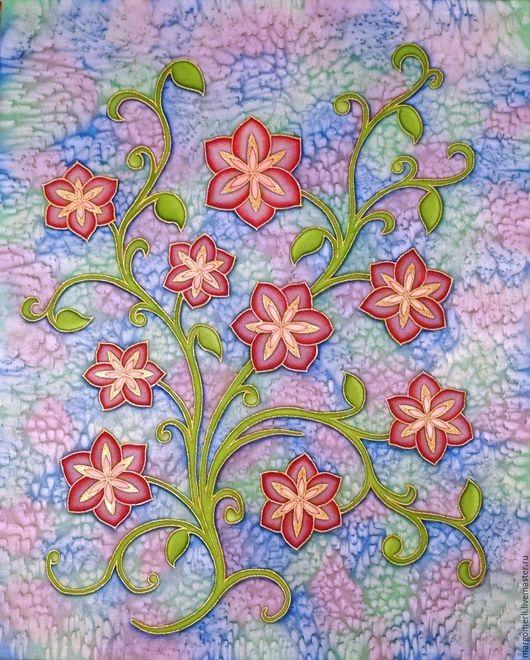 Картины цветов ручной работы. Ярмарка Мастеров - ручная работа. Купить Изящность. Handmade. Комбинированный, Батик, атлас, цветы
