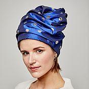 Аксессуары handmade. Livemaster - original item Turban hat millinery head wear Blue with silver dots. Handmade.