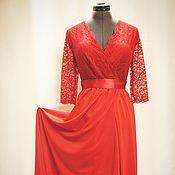 Одежда ручной работы. Ярмарка Мастеров - ручная работа Красное платье в пол с гипюром. Handmade.