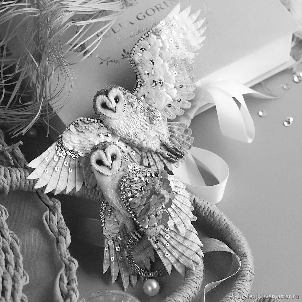 Брошь птица - СОВА летящая, Брошь-булавка, Москва,  Фото №1