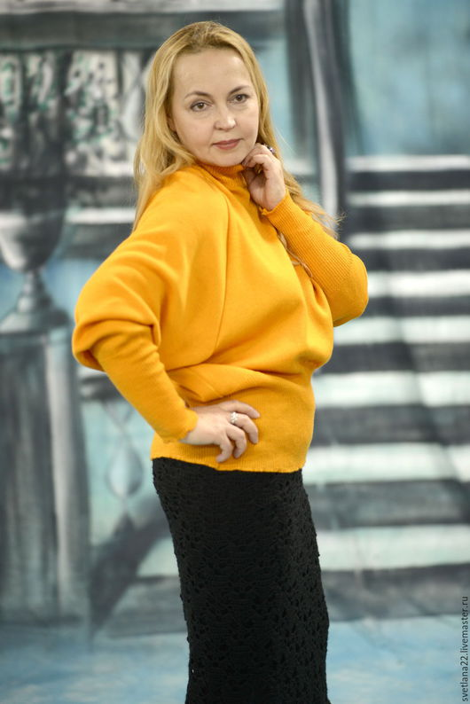 """Кофты и свитера ручной работы. Ярмарка Мастеров - ручная работа. Купить Трикотажный свитер """"Желтый позитив-2"""". Handmade. Желтый"""