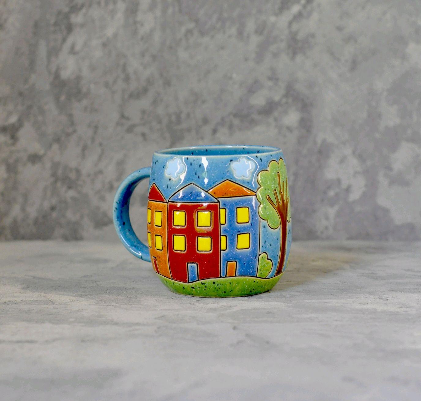 Кружка с домиками синяя, Кружки, Тула,  Фото №1