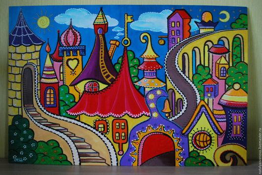 """Город ручной работы. Ярмарка Мастеров - ручная работа. Купить Точечная картина в детскую """"Городок"""" (акрил, с багетом). Handmade. Разноцветный"""
