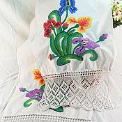 Винтаж handmade. Livemaster - original item Towel with hand embroidery Vintage towel 50s Irises. Handmade.