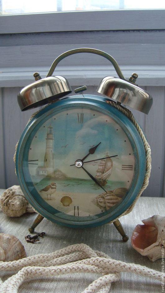 """Часы для дома ручной работы. Ярмарка Мастеров - ручная работа. Купить Будильник """"Хочу на море"""" (на заказ). Handmade."""
