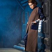 Одежда ручной работы. Ярмарка Мастеров - ручная работа Жилет из шерстяного сукна с кожей, кофейно-синий. Handmade.