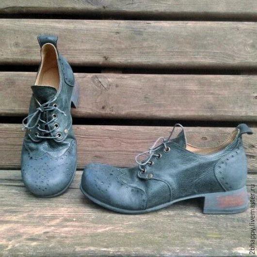 Обувь ручной работы. Ярмарка Мастеров - ручная работа. Купить Кожаные полуботинки РЕТРО сине-зеленые. Handmade. Ботинки женские