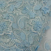 Материалы для творчества ручной работы. Ярмарка Мастеров - ручная работа Вышивка на сетке с бисером - цвет голубой. Handmade.