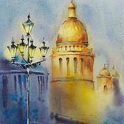 Картины и панно handmade. Livemaster - original item The city of Petersburg watercolors (blue yellow blue yellow). Handmade.