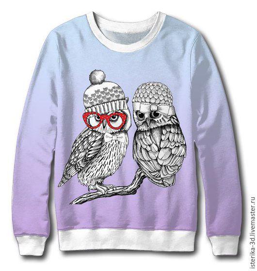 """Кофты и свитера ручной работы. Ярмарка Мастеров - ручная работа. Купить Свитер с принтом """"Деловые совы"""" - отличный подарок. Handmade."""