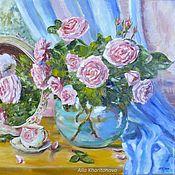 """Картины и панно handmade. Livemaster - original item """"Розы в вазе с зеркалом"""", картина маслом на холсте. Handmade."""
