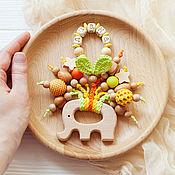 Работы для детей, handmade. Livemaster - original item Rodent-elephant with your baby`s name yellow-orange. Handmade.